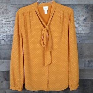 Chico's Long Slevee Mustard Blouse